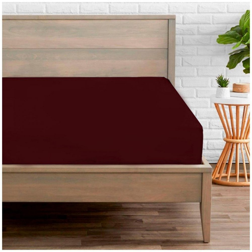 11020202 percale fitted sheet double burgundy 1 2