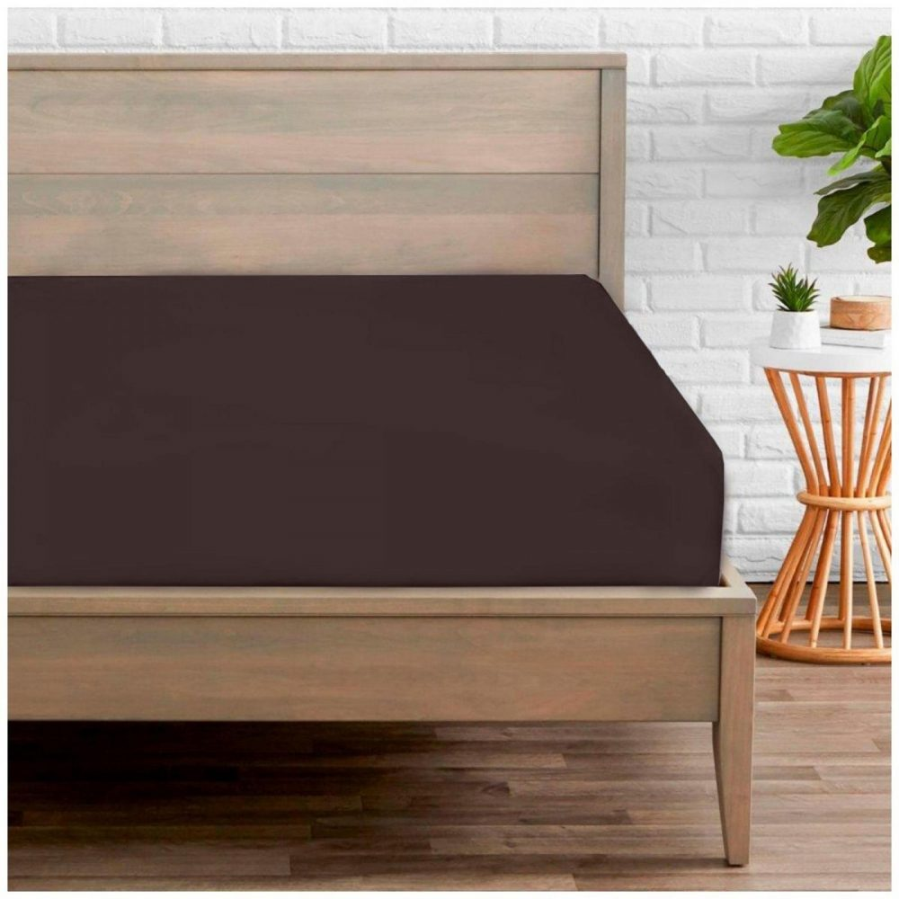 11020233 percale fitted sheet double choco 1 2