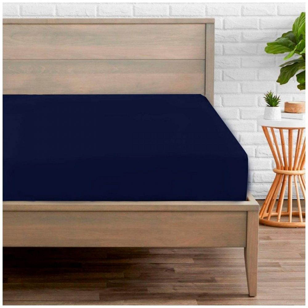 11020257 percale fitted sheet double navy 1 2
