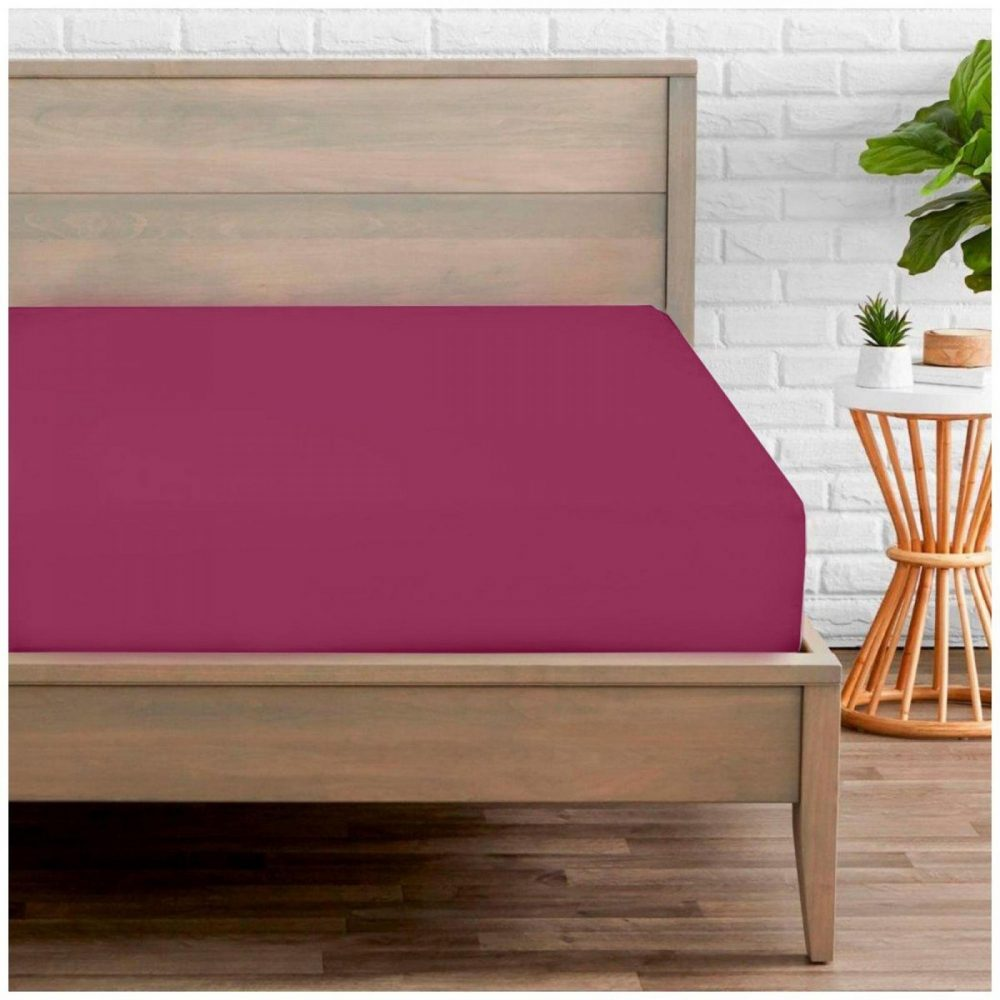 11020264 percale fitted sheet double fuchsia 1 2
