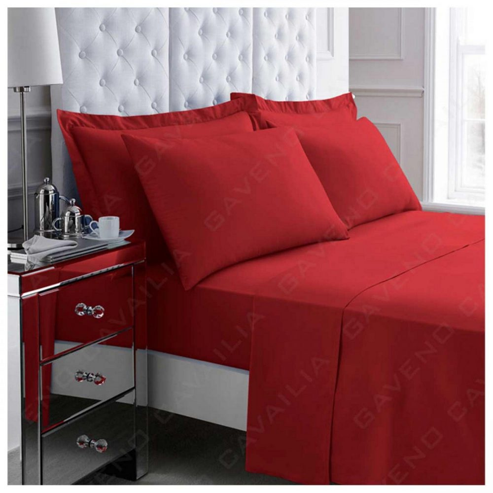 11020974 percale flat sheet double red 1 2