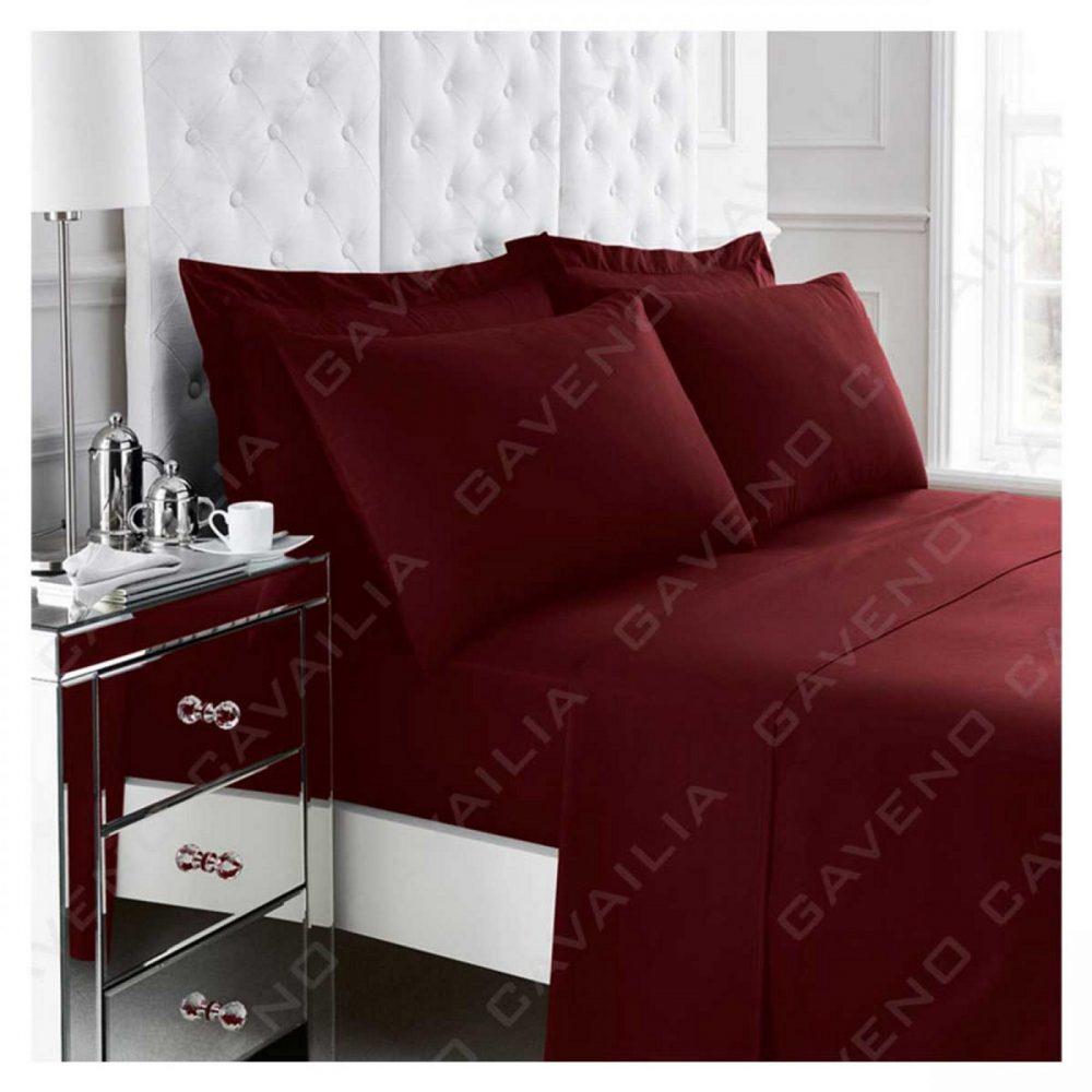 11020981 percale flat sheet double burgundy 1 2