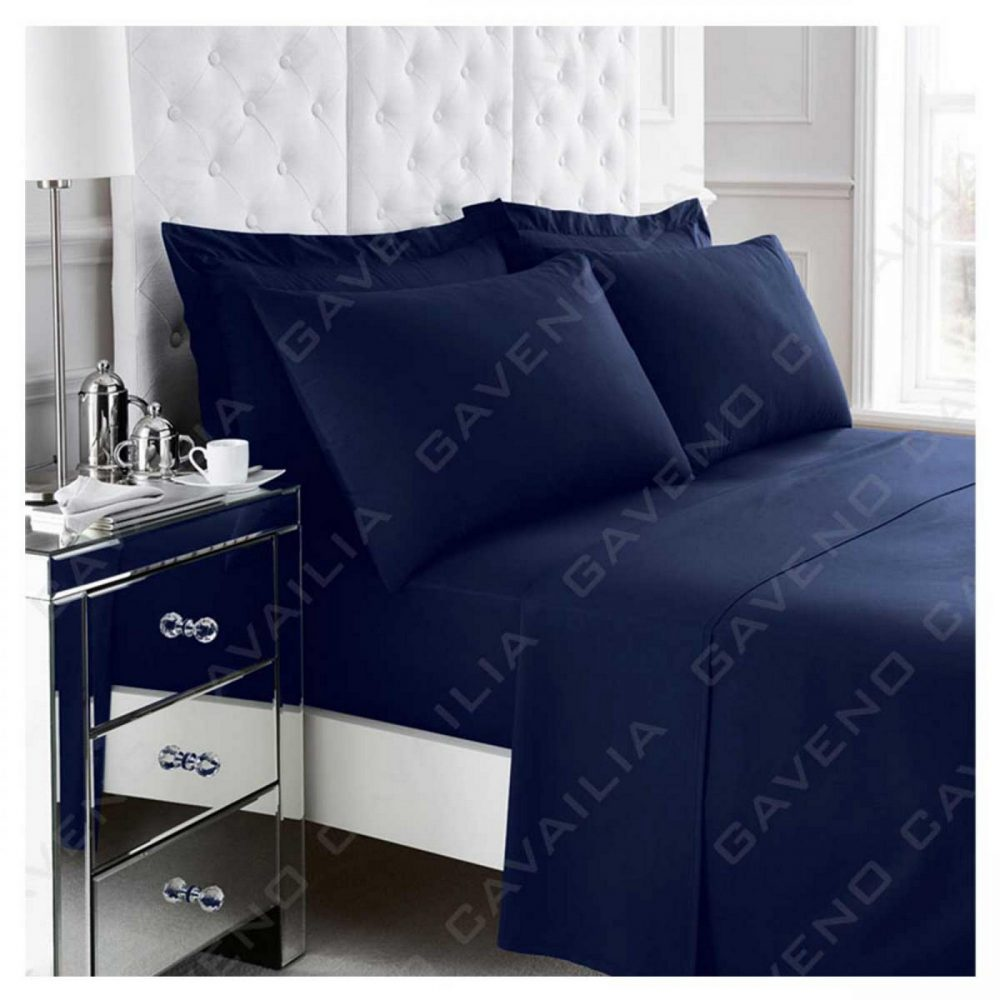 11021032 percale flat sheet double navy 1 2