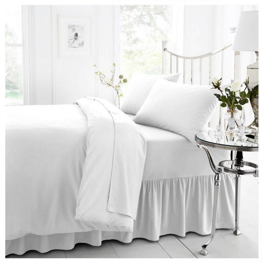 11021353 percale valance sheet double white 1 2
