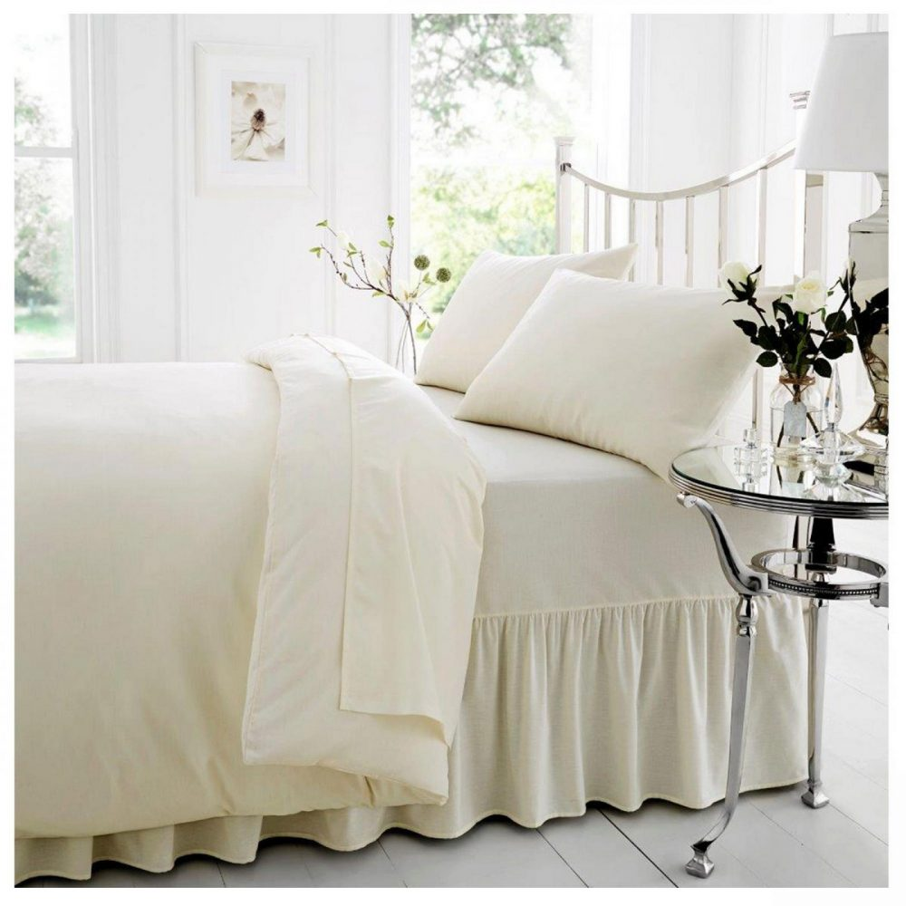 11021360 percale valance sheet double cream 1 2