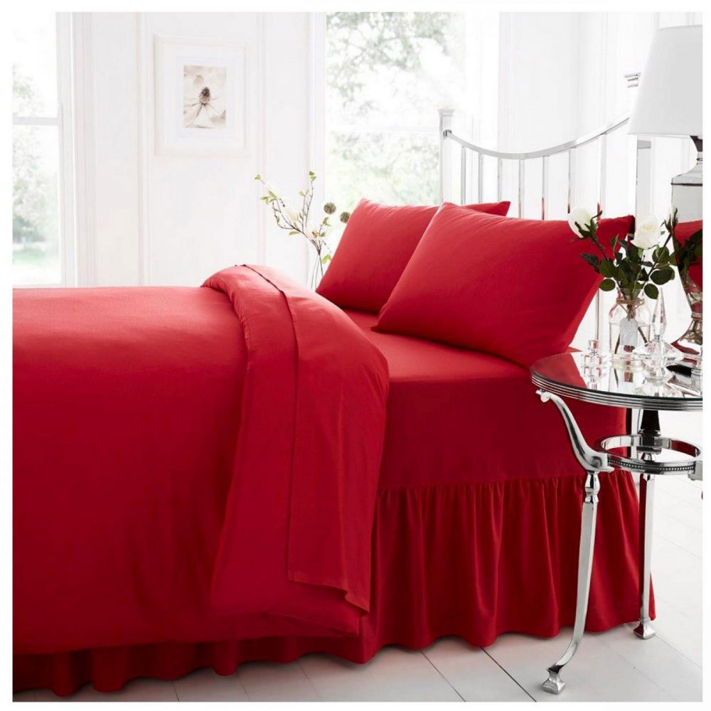 11021391 percale valance sheet double red 1 2