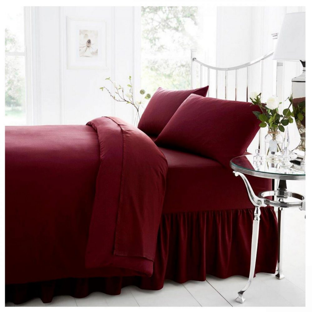11021407 percale valance sheet double burgundy 1 2