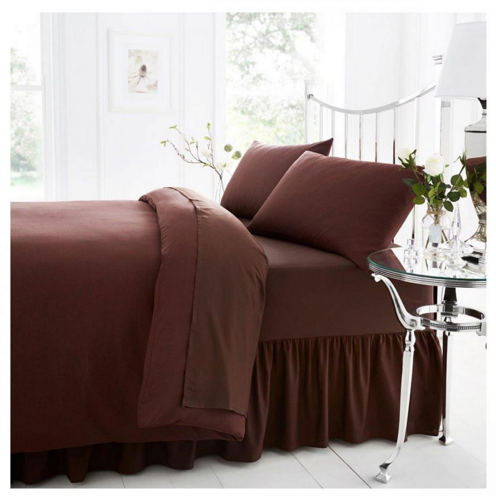 11021438 percale valance sheet double choco 1 2