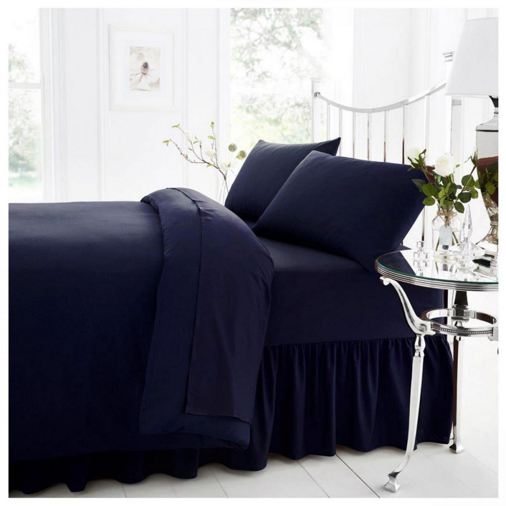 11021452 percale valance sheet double navy 1 2