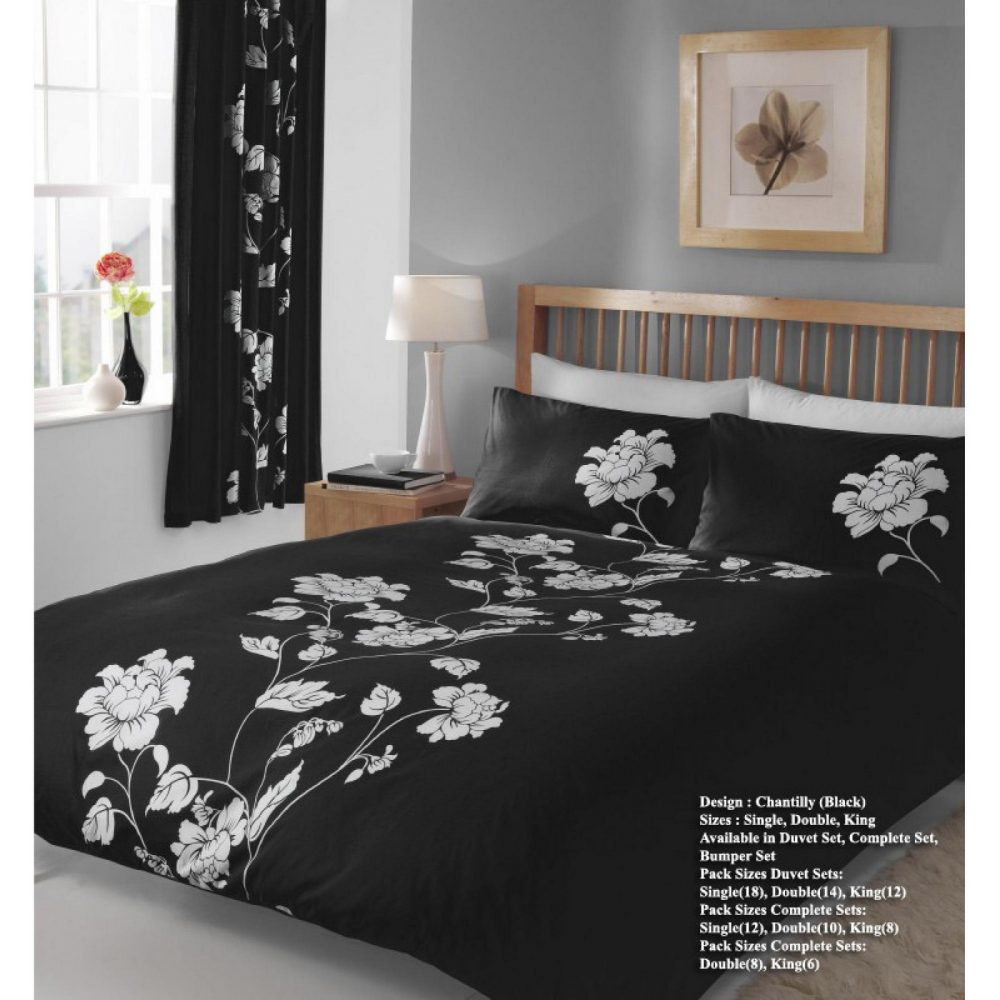 11029984 printed duvet set double chantilly black 1 2