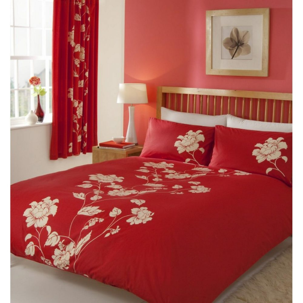 11029991 printed duvet set double chantilly red 1 1