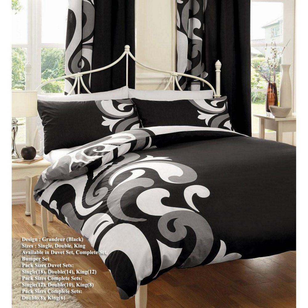 11036425 printed duvet set double grandeur black grey 1 1