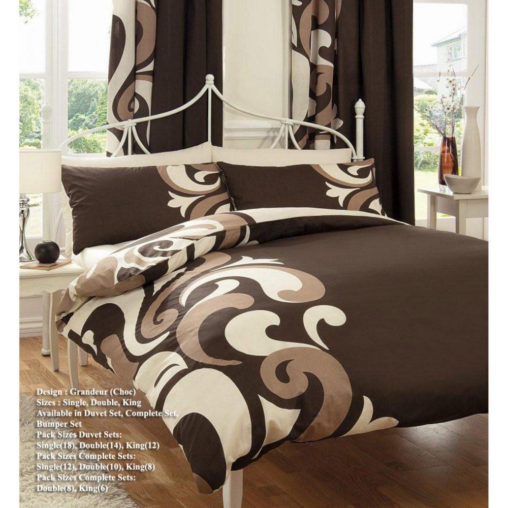 11036456 printed duvet set double grandeur choco 1 1