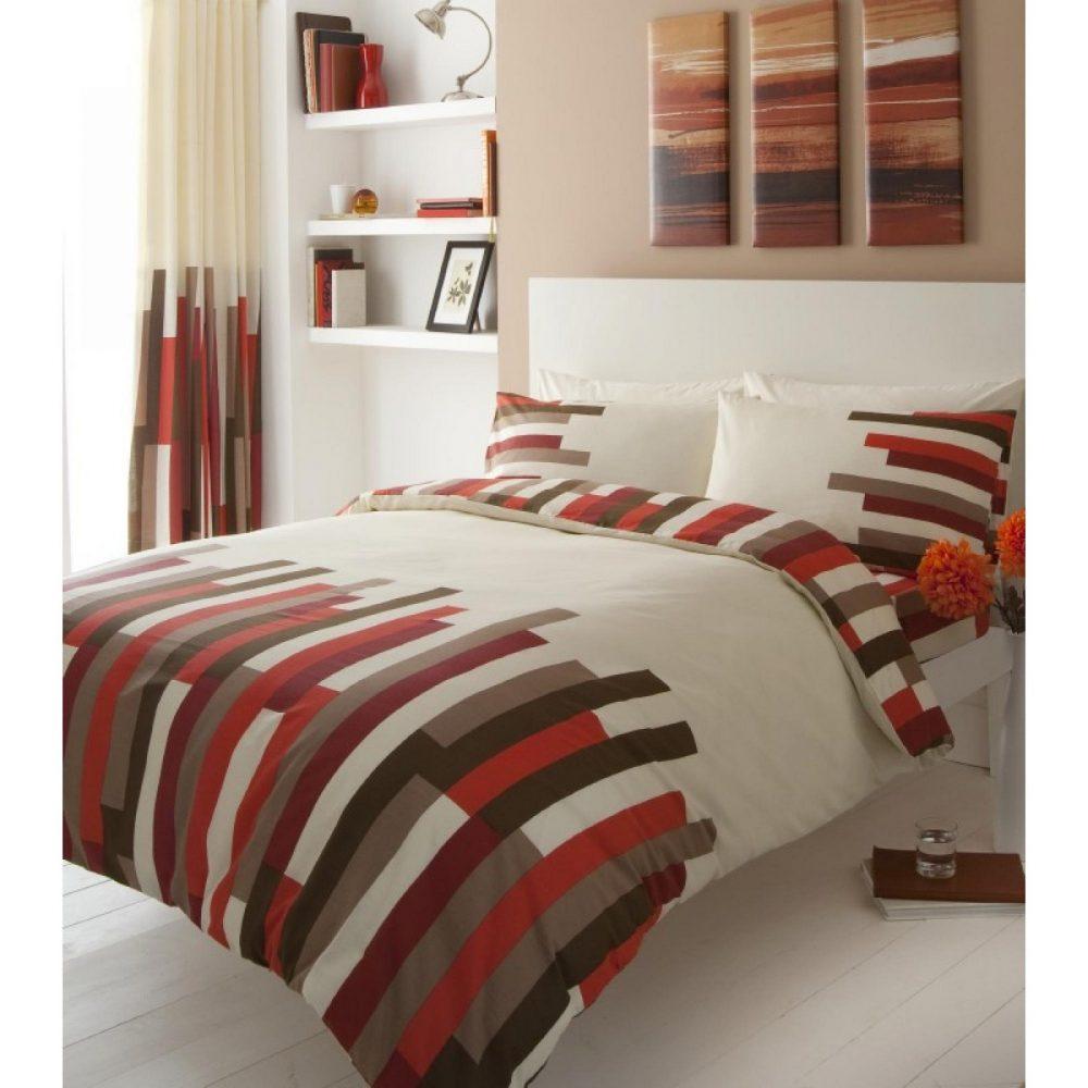 11042907 printed duvet set double blocks cream red 1 1
