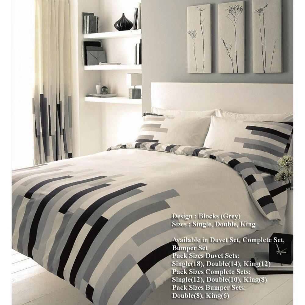 11054481 printed duvet set double blocks cream grey black 1 1