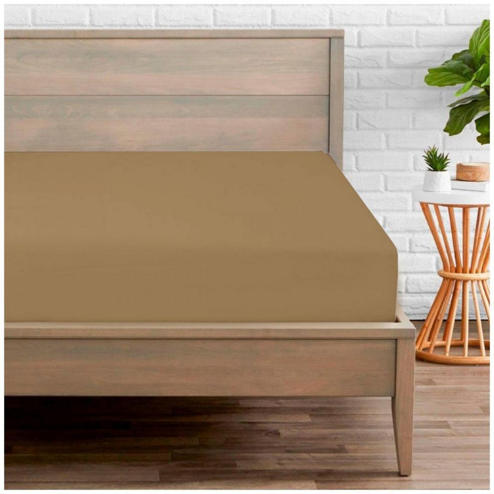 11058045 percale fitted sheet double mocha 1 2