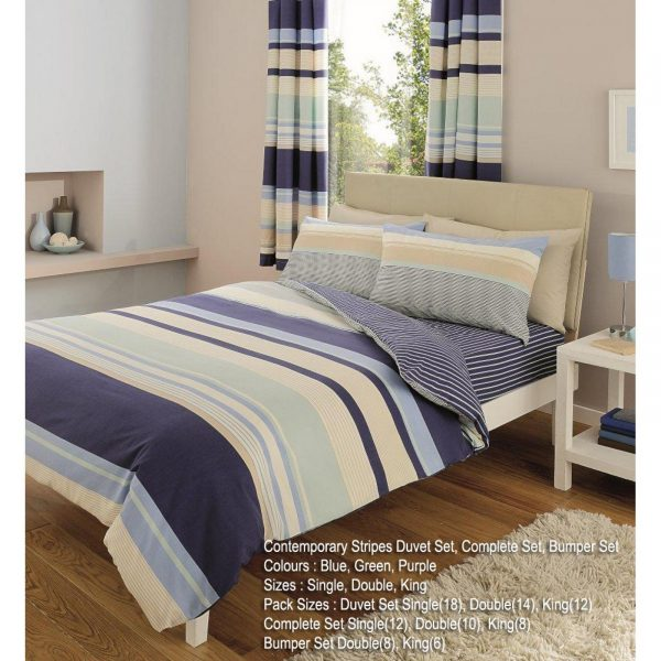 11061205 printed duvet set double contemporary blue 1 2