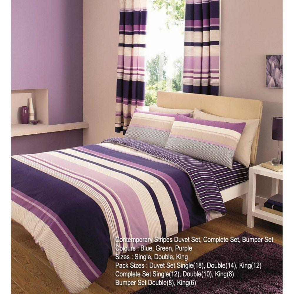 11061212 printed duvet set double contemporary purple 1 1