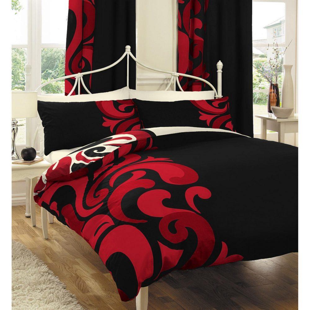 11062189 printed duvet set double grandeur black red 1 1
