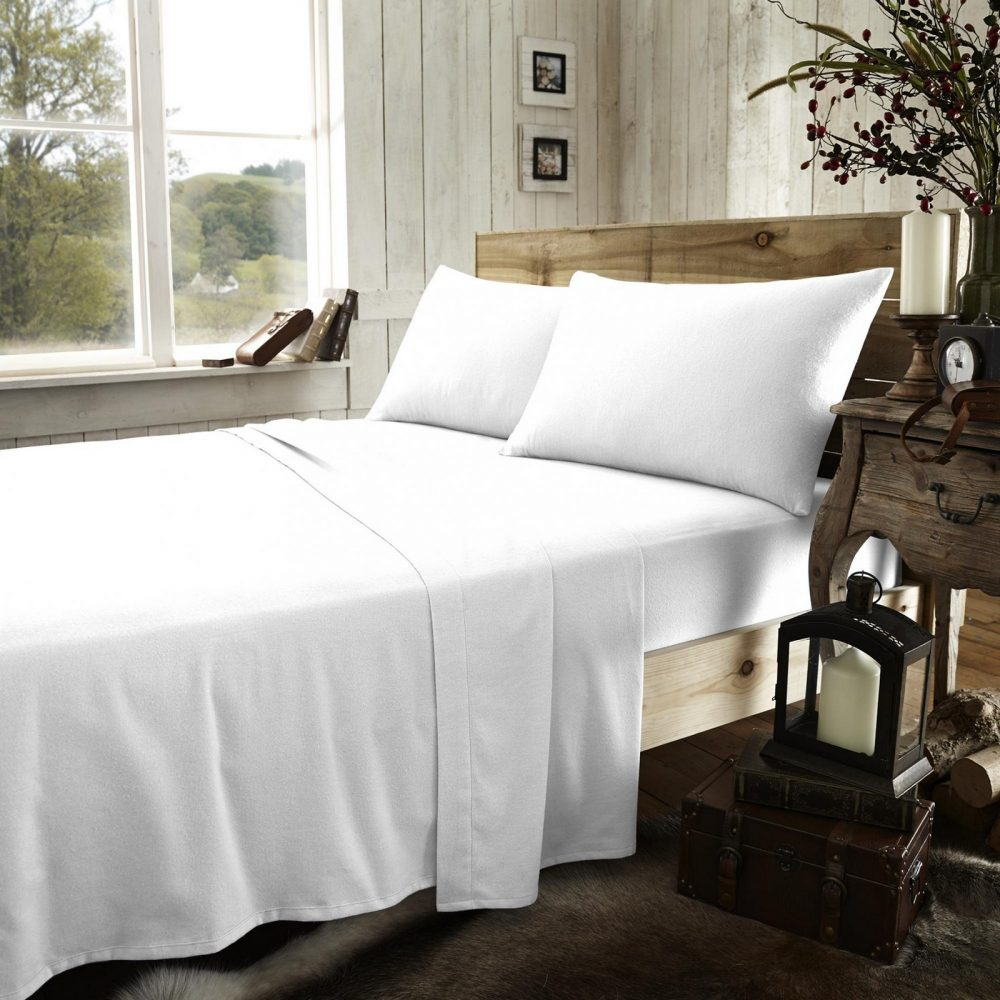 11064879 flannel plain fitted sheet double white new 1 2