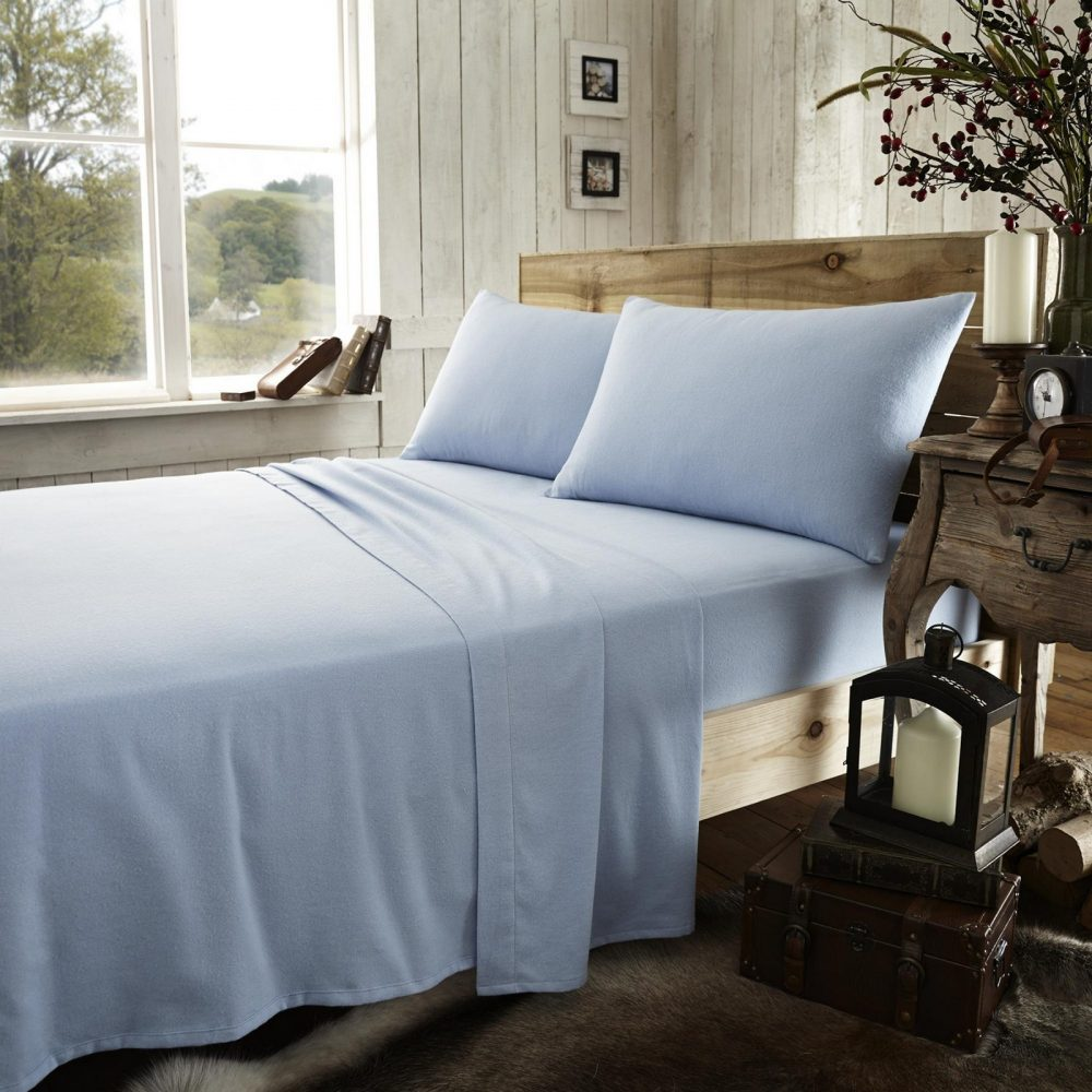 11064923 flannel plain fitted sheet double blue new 1 2