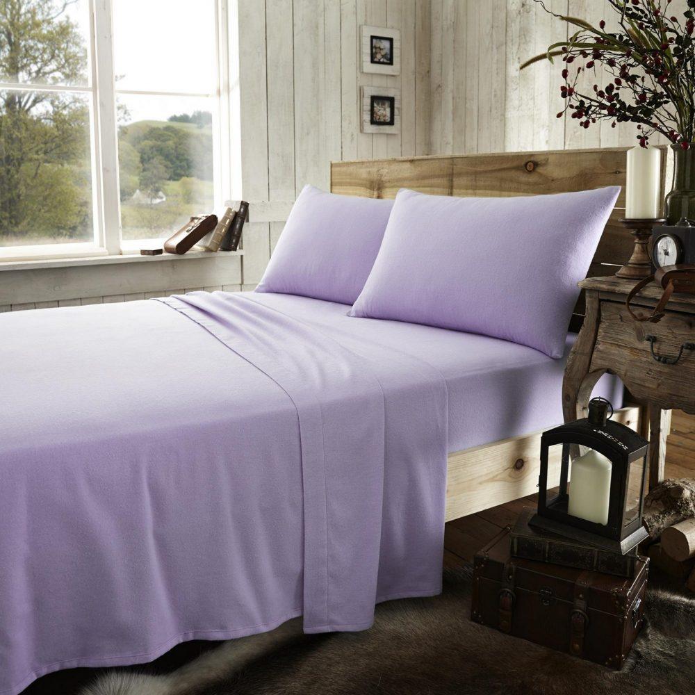 11065098 flannel plain flat sheet double lilac 1 2