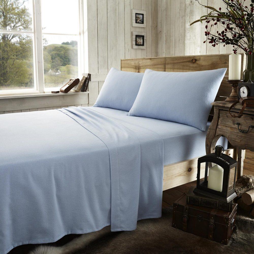 11065104 flannel plain flat sheet double blue 1 2