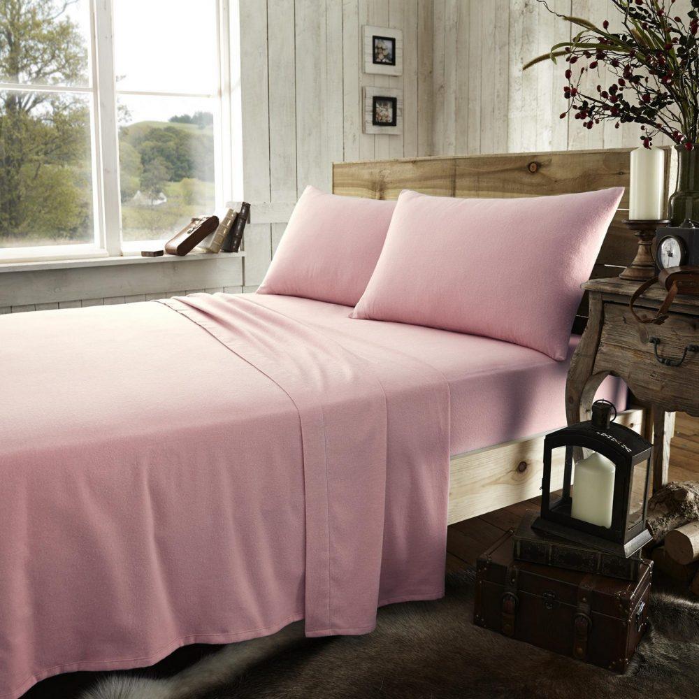 11065265 flannel plain sheet set double pink 1 2