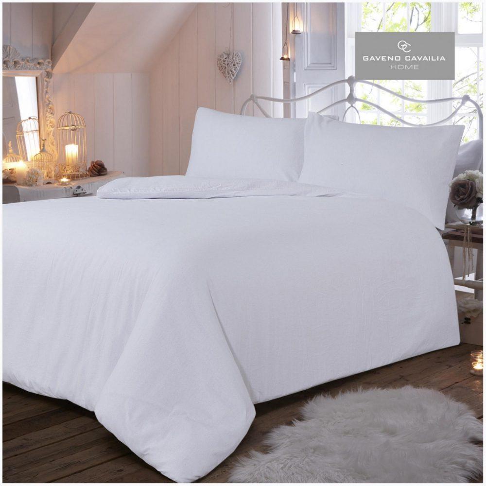 11065418 flannel plain duvet set double white 1 2