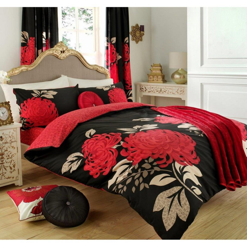11070733 printed duvet set double kew black red 1 2