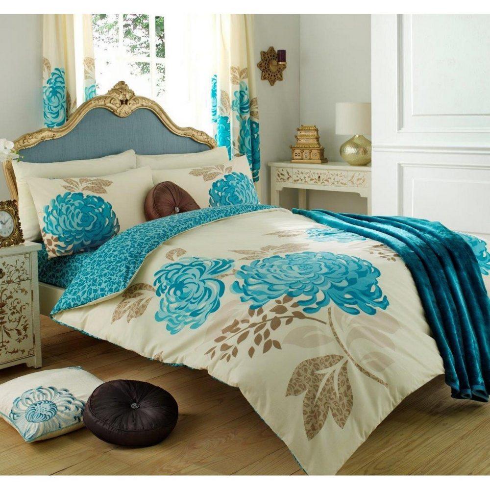 11070757 printed duvet set double kew cream teal 1 1
