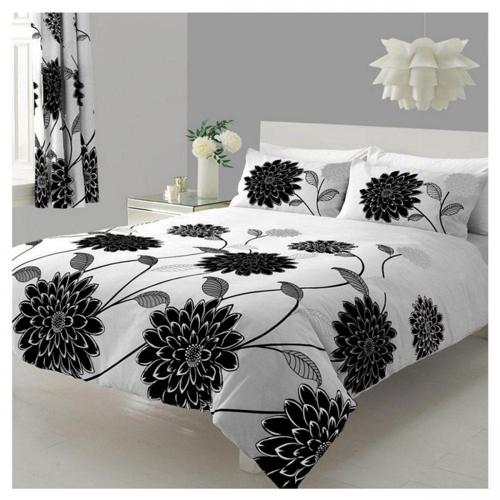 11073994 printed duvet set double sophia white black 1 1