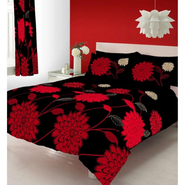 11074090 printed duvet set double sophia black red 1 2