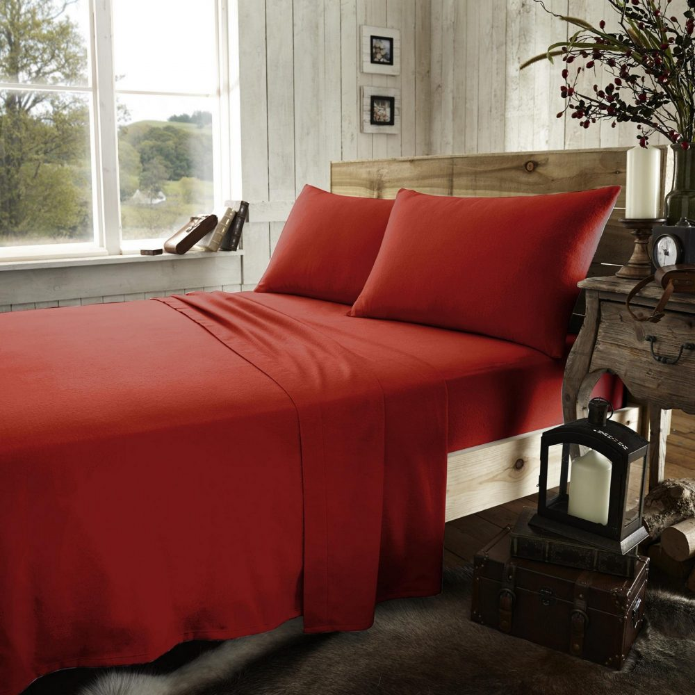 11077190 flannel plain fitted sheet double red new 1 2