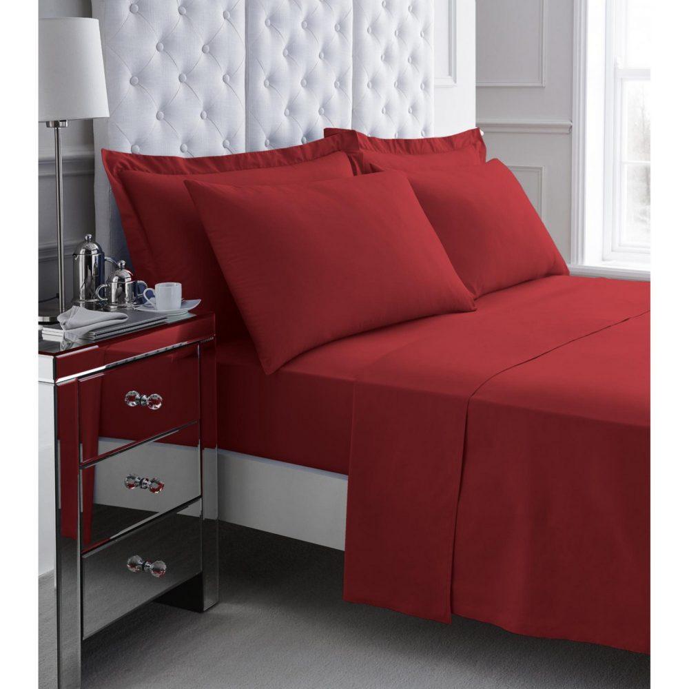 11078258 200 tc egyptian cotton flat sheet double red 1 3