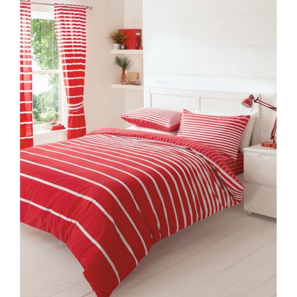 11086123 printed duvet set double linear red 1 1