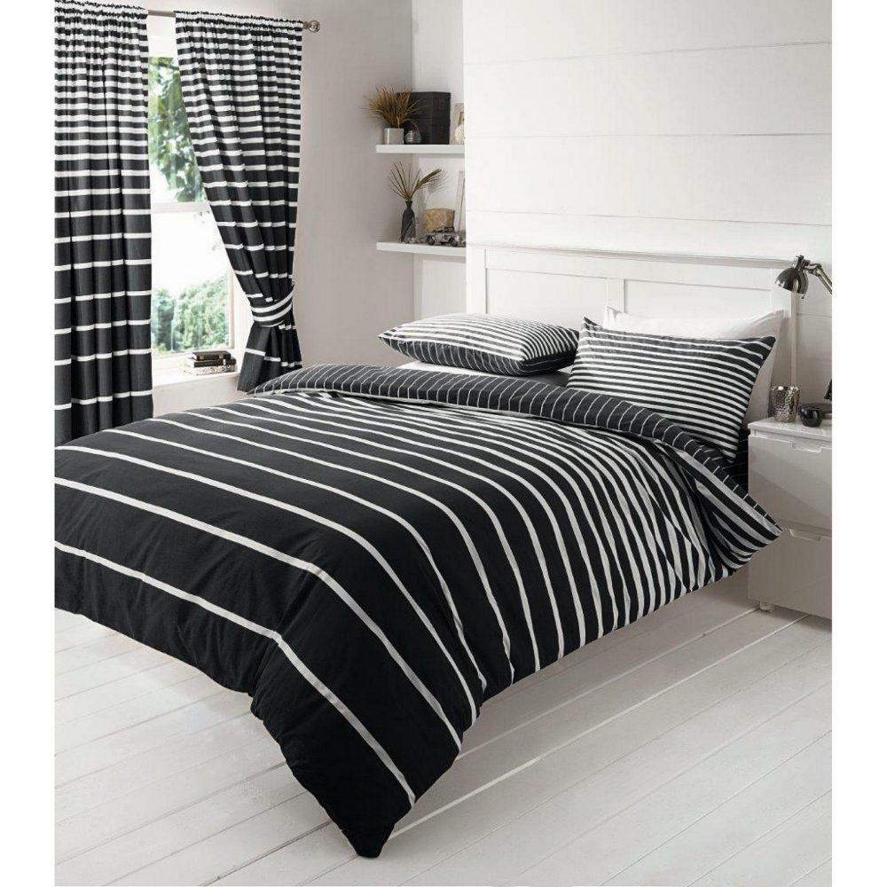 11086130 printed duvet set double linear black 1 2