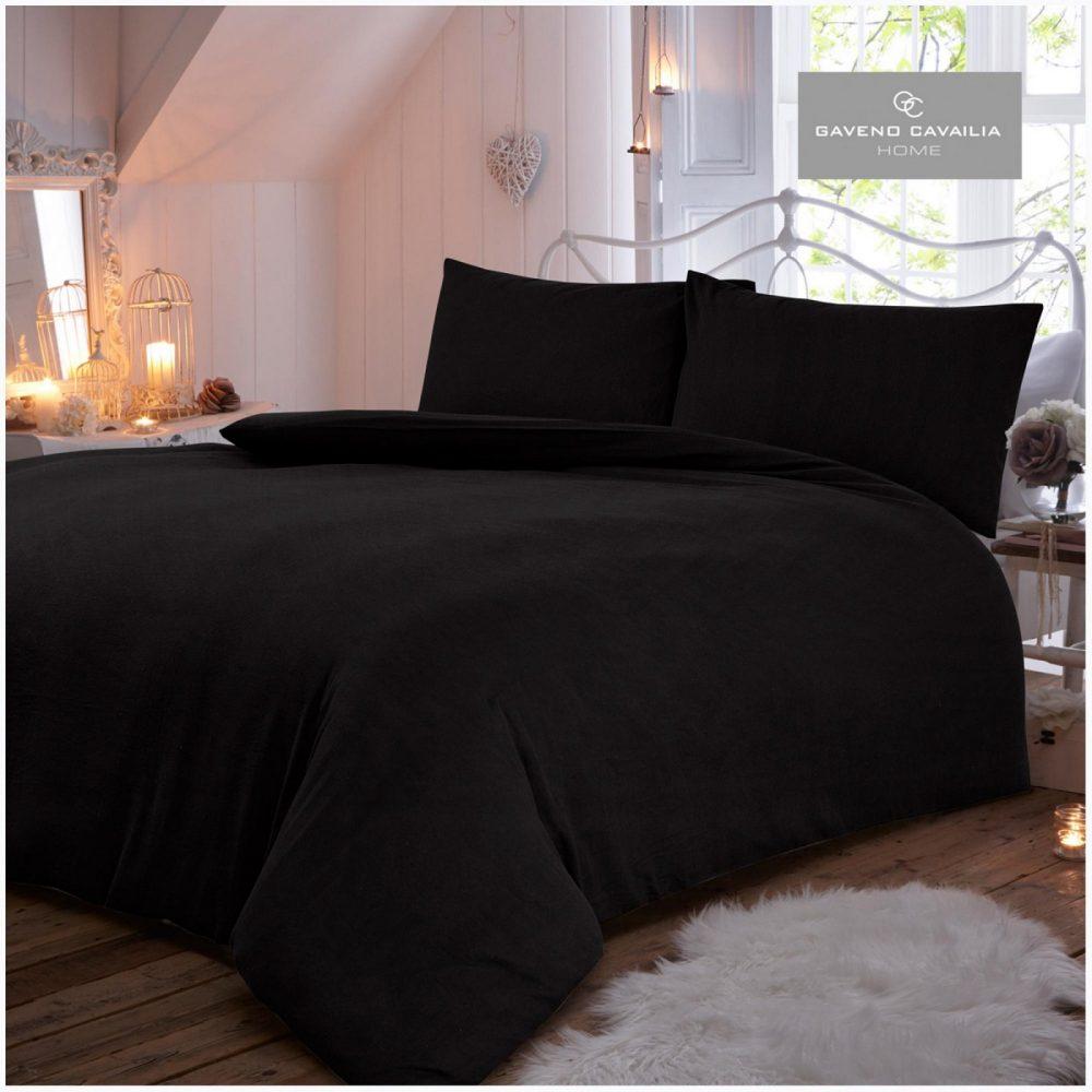 11094050 flannel plain duvet set double black 1 2