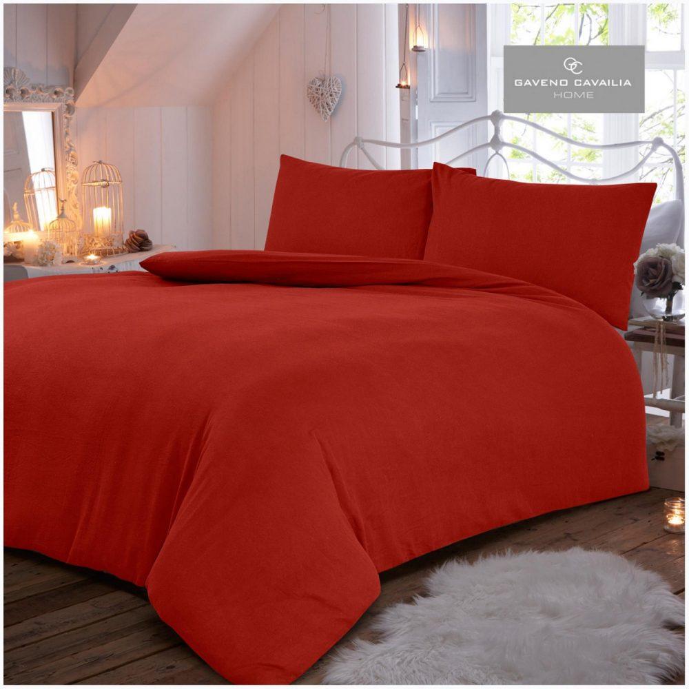 11094067 flannel plain duvet set double red 1 2