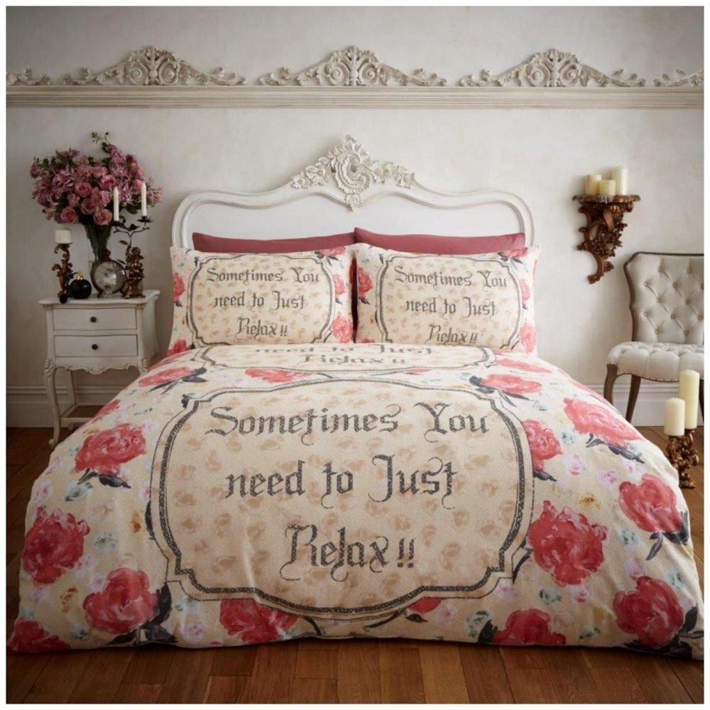 11102557 flannel printed duvet set relax double cream 1 2