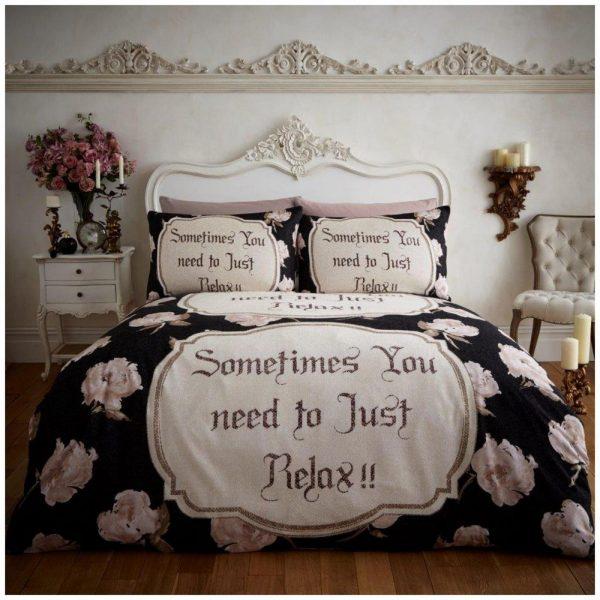 11102571 flannel printed duvet set relax double black 1 2