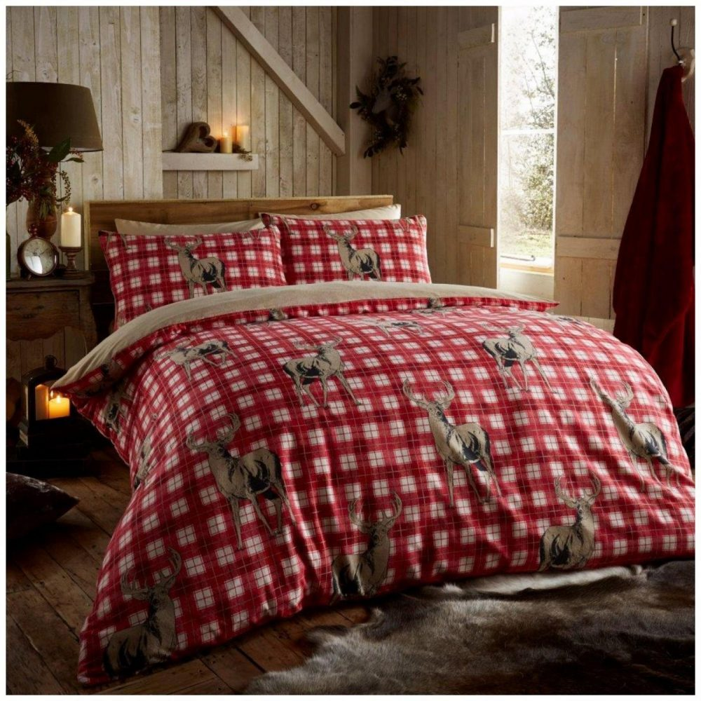 11102632 flannel printed duvet set richmond double red 1 2