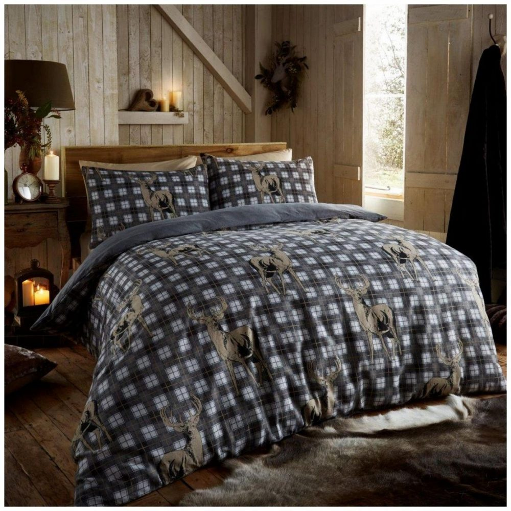11102649 flannel printed duvet set richmond double grey 1 2