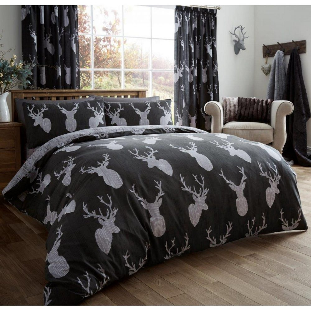 11105381 printed duvet set stags double black 1 1