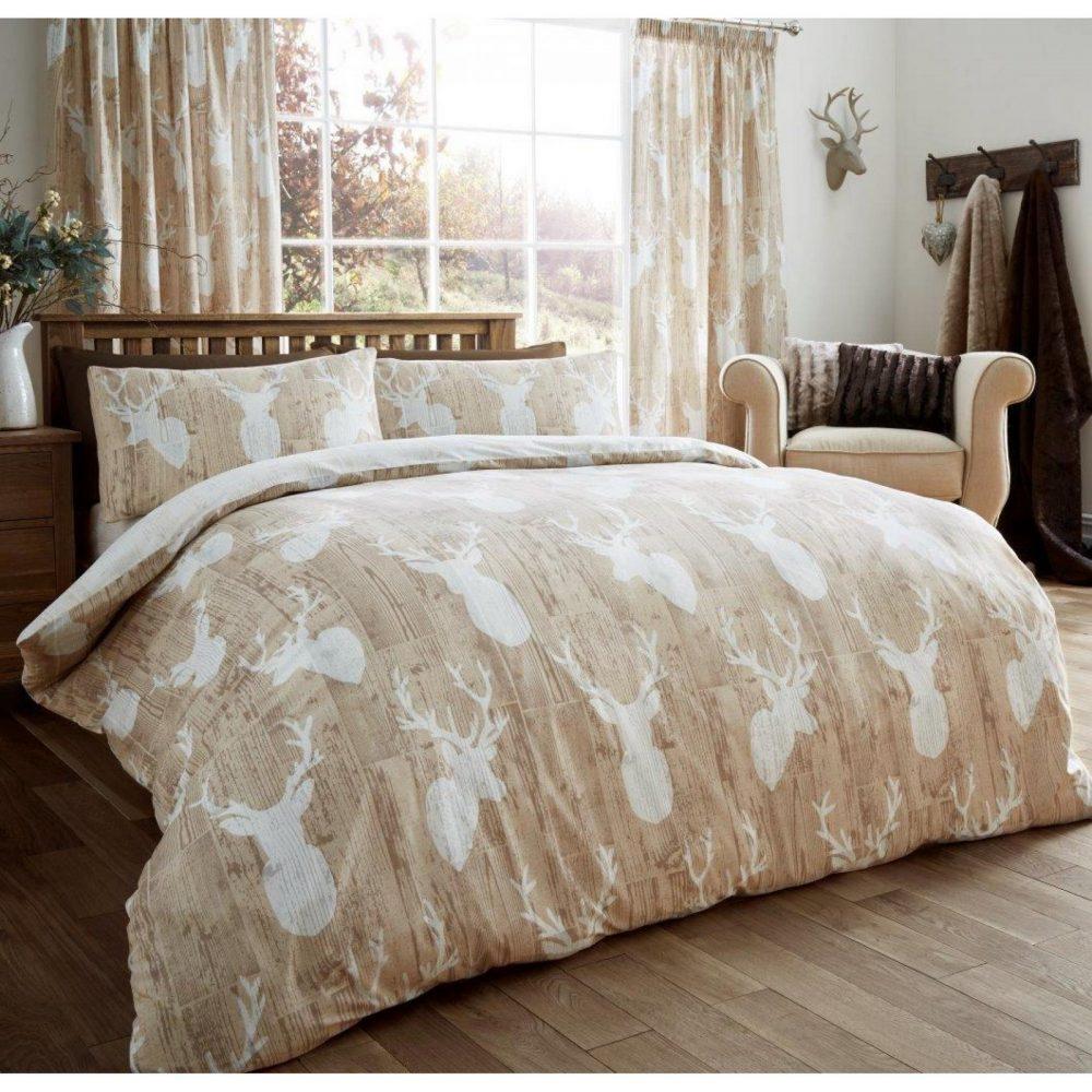 11105466 printed duvet set stags double beige 1 2