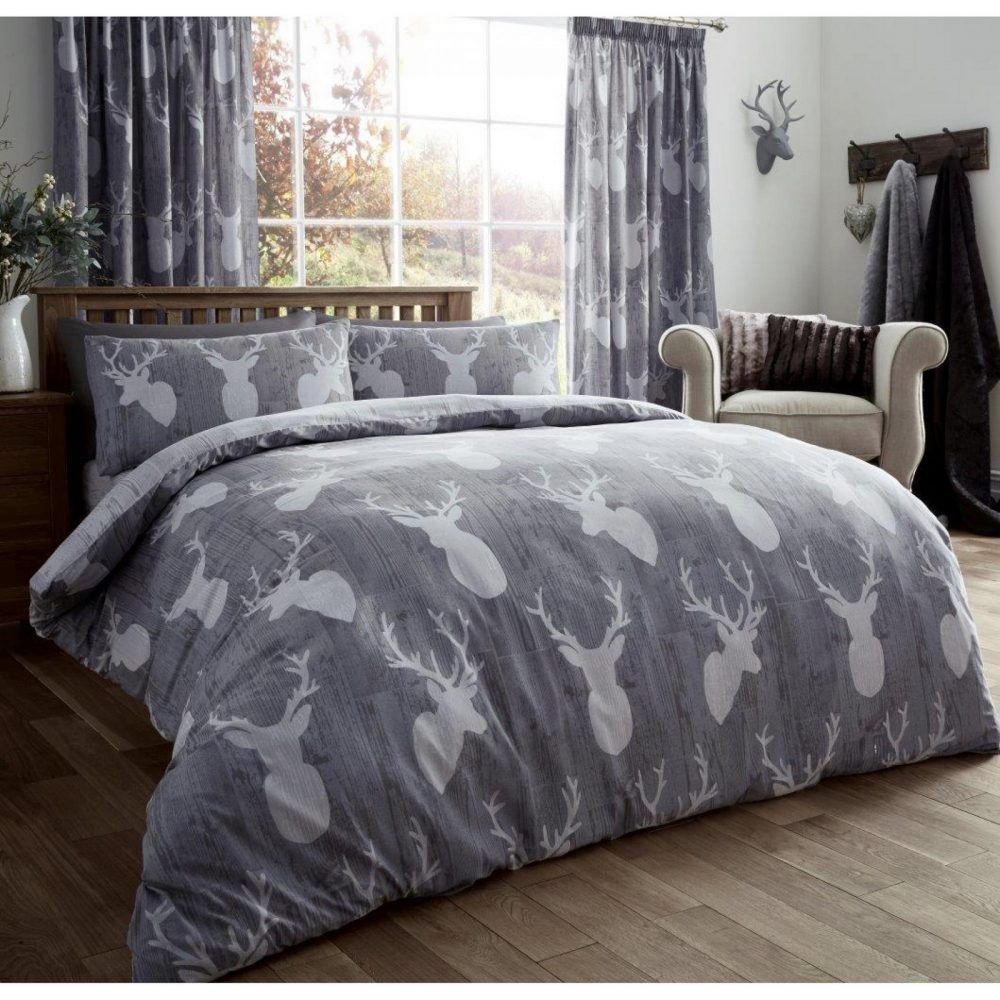 11105541 printed duvet set stags double grey 1 1