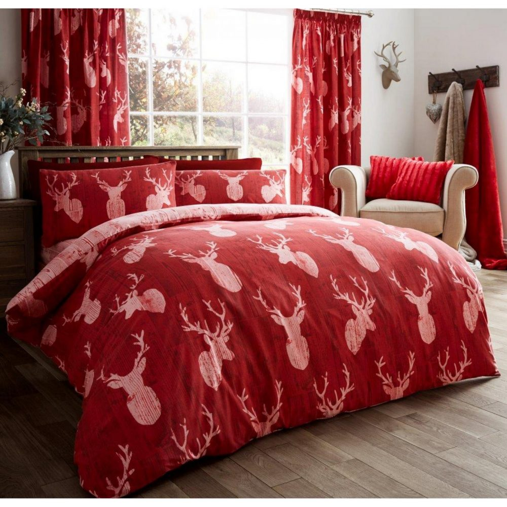 11105626 printed duvet set stags double red 1 1