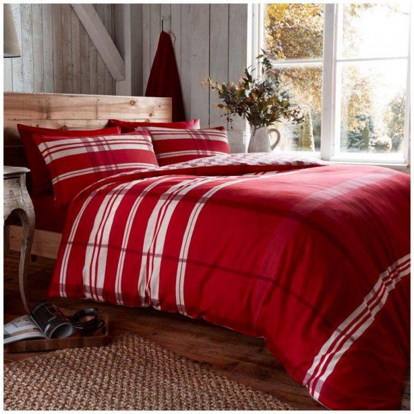 11106845 flannel printed duvet set omega double red 1 2