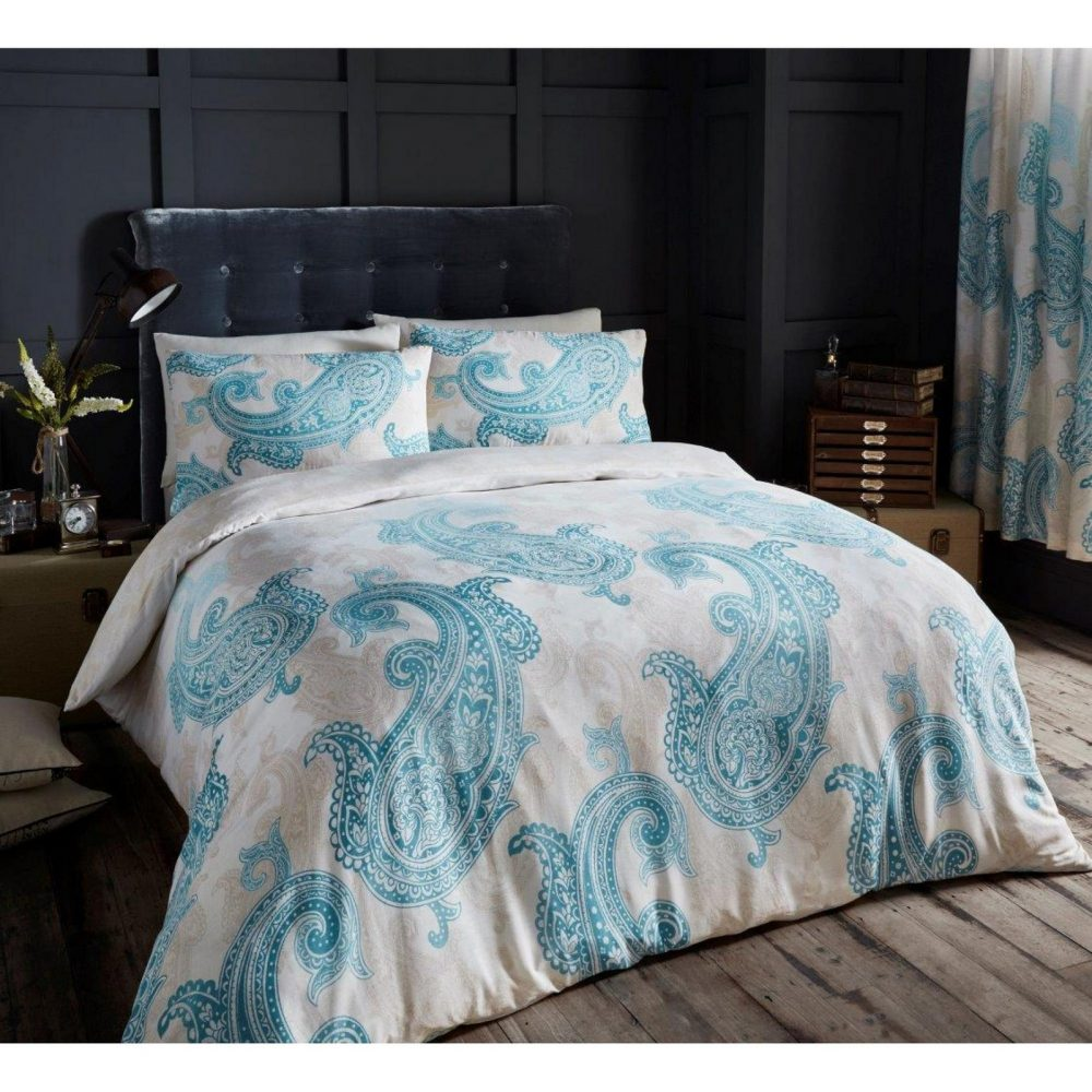 11110620 printed duvet set double paisley teal 1 1