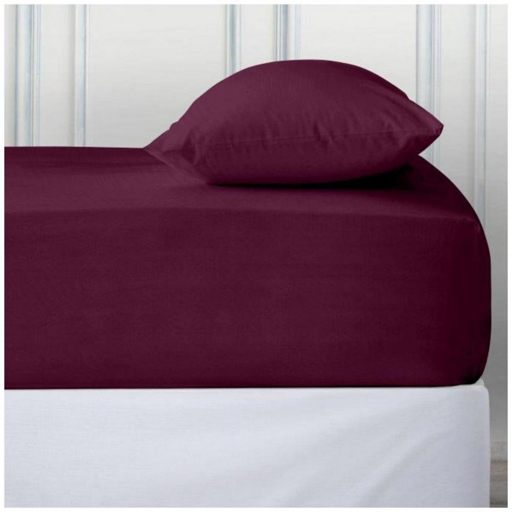11110712 percale deep ftd sheet double burgundy 1 2